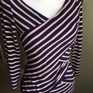 Woman's Medium crossfront 3/4 Sleeve blouse top
